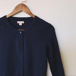 Textured Navy 3/4 Sleeve Cardigan